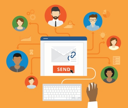 Email marketing and corporate concept